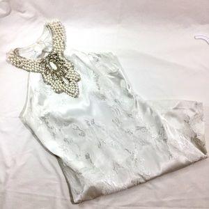 Cache White Sleeveless Embellished Cocktail Dress